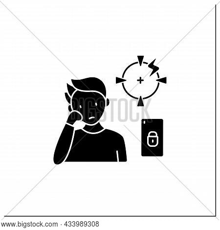 Smartphone Addiction Glyph Icon. Diminishing Ability To Concentrate. Inability To Focus. Unconcentra