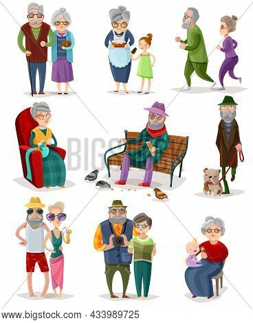 Senior People Cartoon Set Of Different Activities And Hobbies At Retirement Isolated Vector Illustra