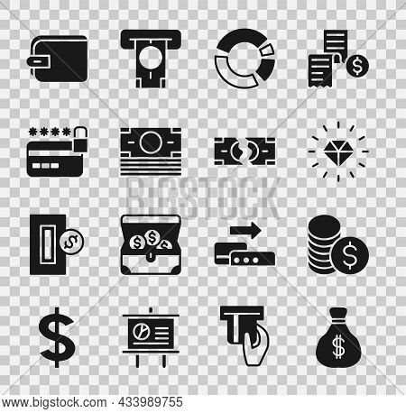 Set Money Bag, Coin Money With Dollar, Diamond, Pie Chart Infographic, Stacks Paper Cash, Credit Car