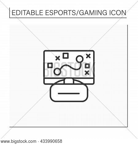 Game Line Icon. Strategy. Planning Actions. Virtual Reality Goggles And Laptop. Cybersport Concept.