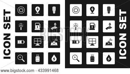 Set Led Light Bulb, Electric Car Charging Station, Wind Turbine, Power Button, Plant Hand, Lightning