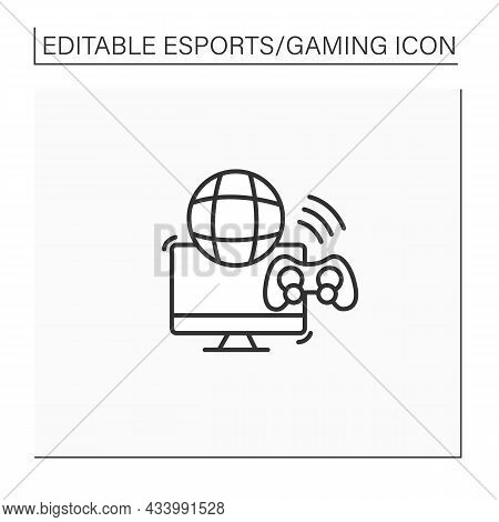 Multiplayer Video Game Line Icon. Global Gaming. Playing Process With Different Players. More Than O
