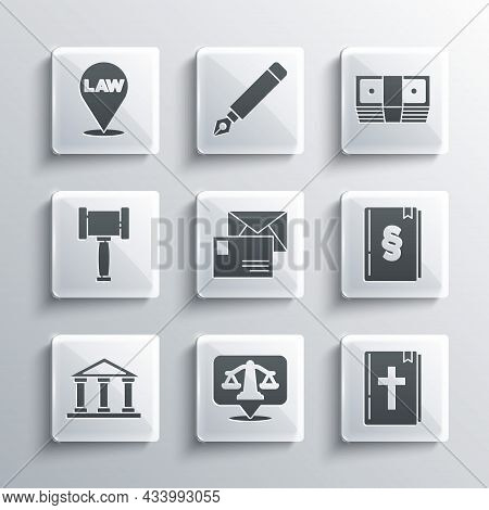 Set Scales Of Justice, Holy Bible Book, Law, Envelope, Courthouse Building, Judge Gavel, Location La