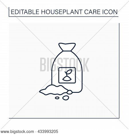 Soil Line Icon. Soil Bag. Necessary For Planting Plants. Rich In Minerals. Houseplant Care Concept.i