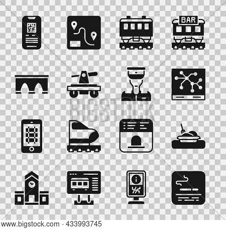 Set Smoking Area, Plate With Food, Railway Map, Passenger Train Cars, Draisine Or Handcar, Bridge Fo