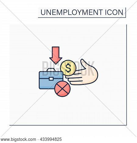 Unemployment Benefit Color Icon. Cash Benefits For Fired Workers. Unemployment Insurance, Payment, C