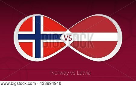 Norway Vs Latvia In Football Competition, Group G. Versus Icon On Football Background. Vector Illust