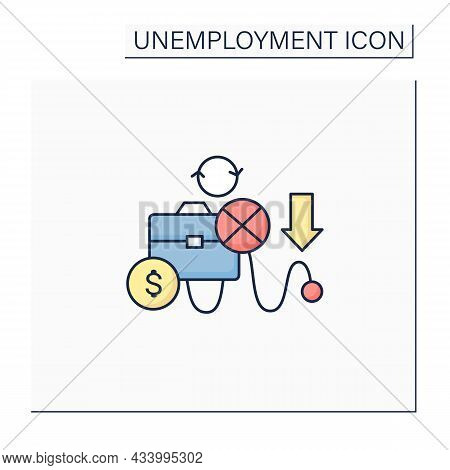 Cyclical Unemployment Color Icon. Unemployed Workers Variation Over Economic Upturns, Downturns. Inc