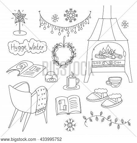 Collection Of Linear Objects Of The Cozy Home Hyugge Winter Decorations, Fireplace, Candle And Comfo