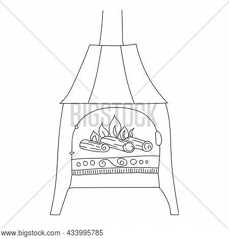 Fireplace In Scandinavian Style On Legs With Decor. Fire Is Burning In The Fireplace. Cozy European