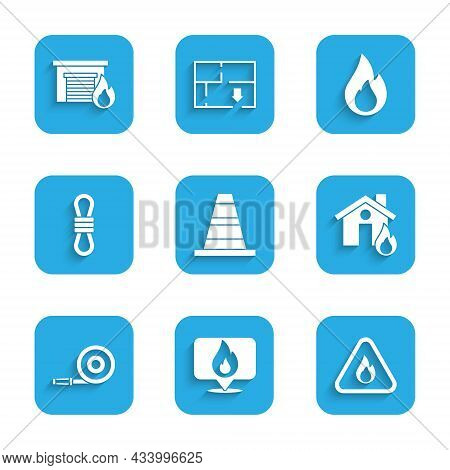 Set Traffic Cone, Location With Fire Flame, Fire In Triangle, Burning House, Hose Reel, Climber Rope
