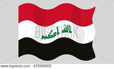 Detailed Flat Vector Illustration Of A Flying Flag Of Iraq On A Light Background. Correct Aspect Rat