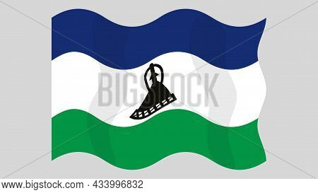 Detailed Flat Vector Illustration Of A Flying Flag Of Lesotho On A Light Background. Correct Aspect