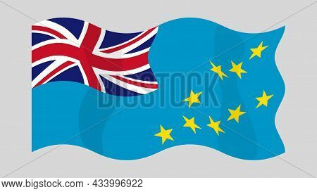 Detailed Flat Vector Illustration Of A Flying Flag Of Tuvalu On A Light Background. Correct Aspect R