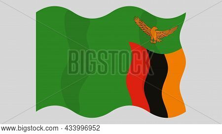 Detailed Flat Vector Illustration Of A Flying Flag Of Zambia On A Light Background. Correct Aspect R