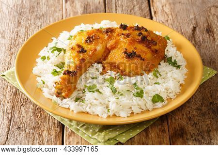 Roasted Spiced Chicken With Coconut Milk Ayam Percik With Rice Close Up In The Plate On The Table. H