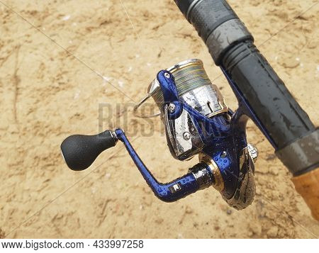 Feeder Fishing On The River. Wet Fishing Tackle, Reel And Rod. Fishing For Carp And Other Fish. Vaca