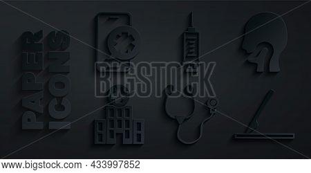 Set Stethoscope, Sore Throat, Medical Hospital Building, Surgery Scalpel, Syringe And Emergency Phon