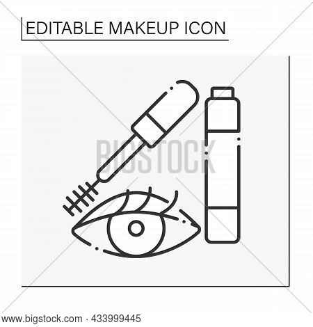 Mascara Line Icon. Special Cosmetic Product For Making Lashes Longer And Volume. Makeup Concept. Iso