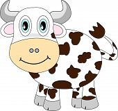 Vector illustration of a cute looking cartoon spotted cow with a happy smiling face. poster