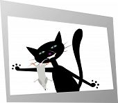 "vector illustration ""black cat with funny mouse in the photo"" poster"