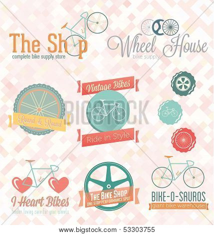 Vector Set: Retro Bike Shop Labels and Icons