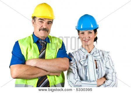 Portrait Of Two Architects Team With Hard Hat