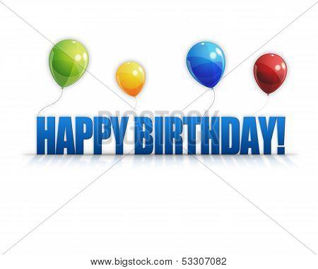 Happy Birthday Balloons 3D Background