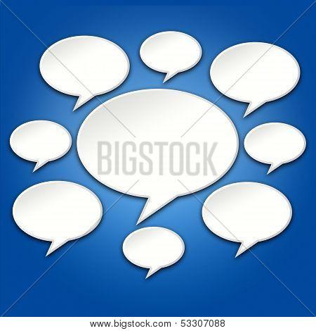 Chat Bubbles Conversation On Blue 3D Background