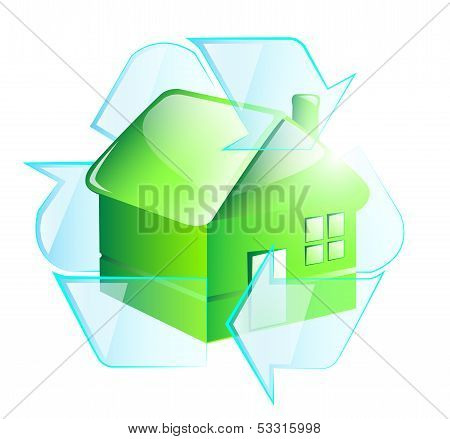 Green house in recycle symbol