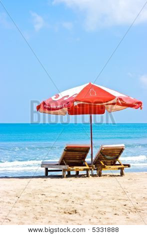 Umbrella And Chairs On Beach