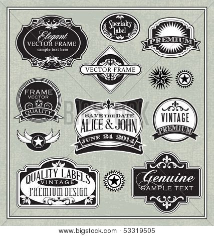 vector vintage labels frames and design elements