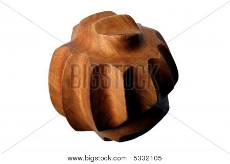 Wood massage ball on a white background poster