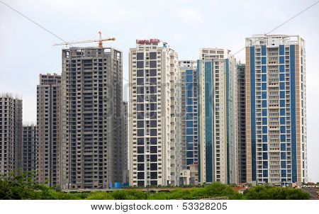 HYDERABAD INDIA - August 29 : Lanco Hills is located in the city which is one of the biggest high-rise residential projects in entire South India. On August 29, 2012 Hyderabad, India.
