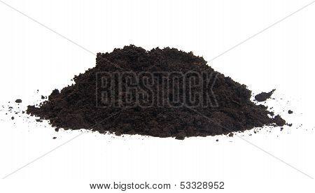 Pile Of Black Garden Top Soil Over White Background