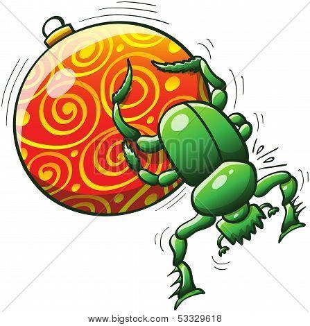 Christmas beetle pushing a Christmas ball