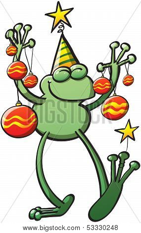 Cool green frog wearing a hat, closing its eyes and holding decorative baubles and stars while smiling and celebrating Christmas poster