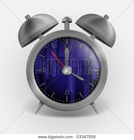 Metal Classic Style Alarm Clock. Vector Illustration. Eps 10. poster