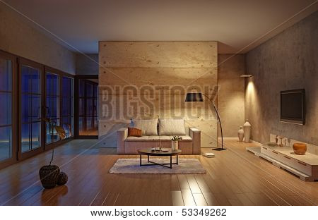 beautiful modern living room interior (illustration)