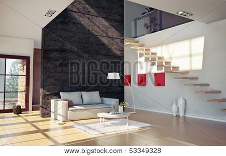 Beautiful modern living room interior (cg illustration)