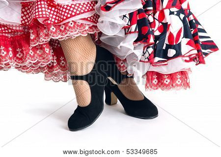 Feet Detail Of Flamenco Dancer In Beautiful Dress