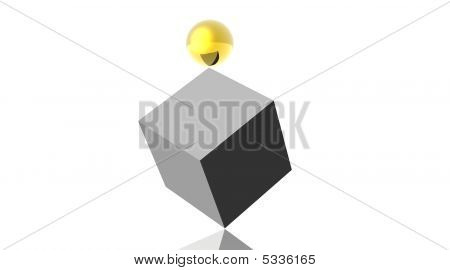 Gold Ball On Cube