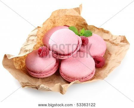 Gentle macaroons isolated on white