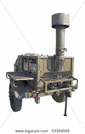 old time standart russian or soviet army military mobile field kitchen KP-125 over white background poster