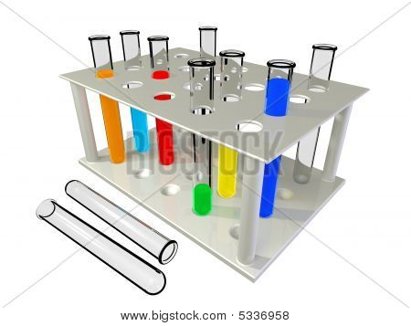 Test Tubes With Chemical Reactants Of Various Colour Scale.