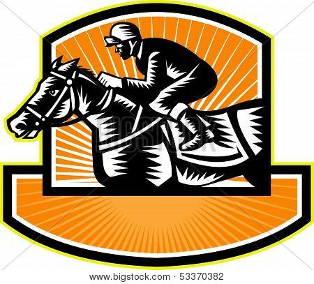 Horse Racing Side Woodcut Retro