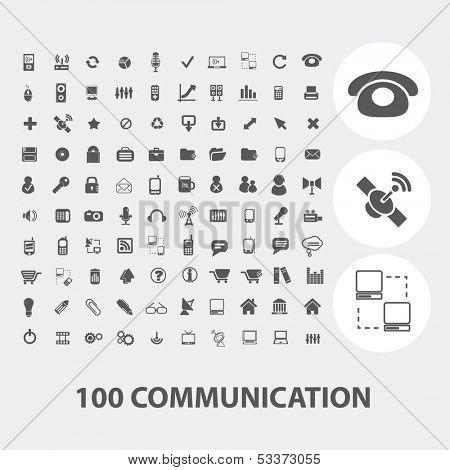 100 communication black icons set, vector