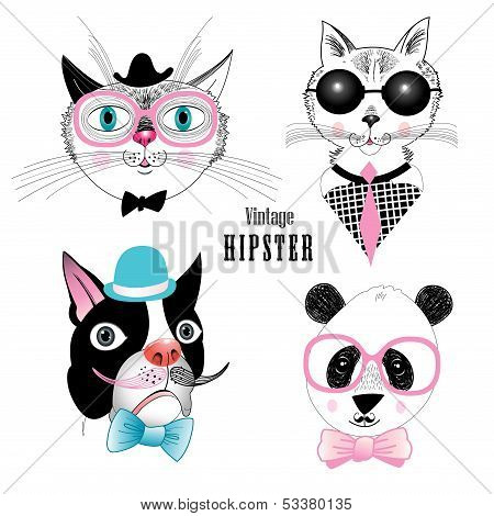 graphic funny set of different animals hipster on a white background poster