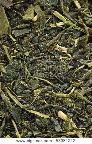 Sencha Japanese green tea leaves, high magnification macro.