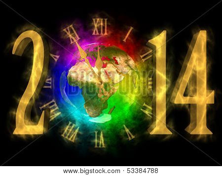 Happy new year 2014 - Europe Asia and Africa